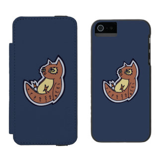 Horned Owl On Its Back Light Belly Drawing Design Wallet Case For iPhone SE/5/5s