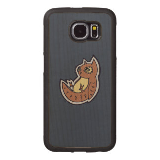 Horned Owl On Its Back Light Belly Drawing Design Wood Phone Case