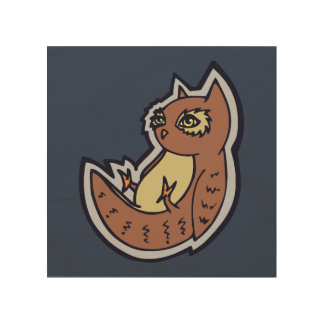 Horned Owl On Its Back Light Belly Drawing Design Wood Print