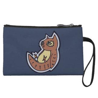 Horned Owl On Its Back Light Belly Drawing Design Wristlet Wallet