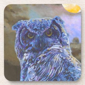 Horned Owl Original Painting coasters - set of 6