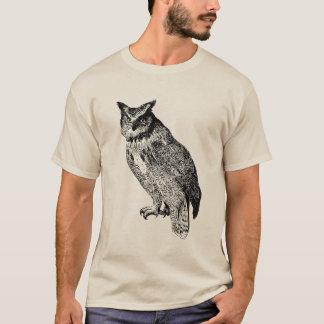 Horned Owl Owls Vintage Wood Engraving T-Shirt