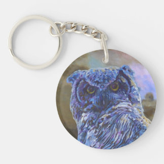 Horned Owl Painting by Steve Berger Keychain