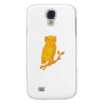 Horned Owl Perching Branch Mono Line Samsung Galaxy S4 Cover