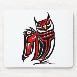HORNED OWL RED MOUSE PAD