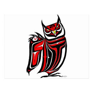 HORNED OWL RED POST CARD