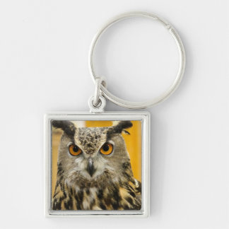 Horned Owl Silver Keychain