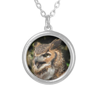 Horned Owl Silver Plated Necklace