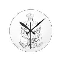 Horned Owl Spartan Helmet Drawing Round Clock