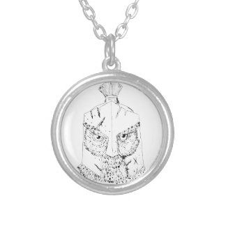 Horned Owl Spartan Helmet Drawing Silver Plated Necklace