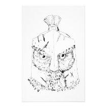 Horned Owl Spartan Helmet Drawing Stationery