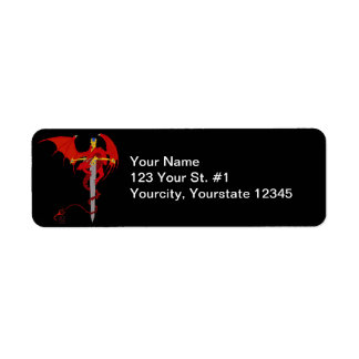 Horned Red Dragon With Jeweled Ornate Sword Label