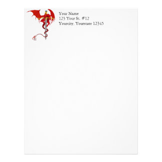 Horned Red Dragon With Jeweled Ornate Sword Letterhead