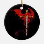 Horned Red Dragon With Jeweled Ornate Sword Double-Sided Ceramic Round Christmas Ornament