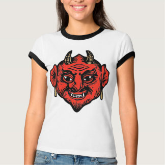 Horned Red Satan Devil Face Tee Shirt