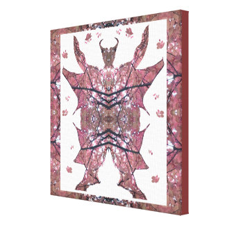 Horned, Winged, Hoofed Man from Tree Leaf Canvas