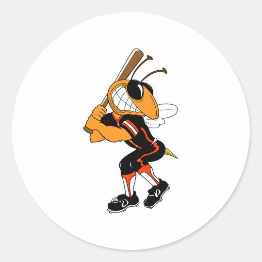 Hornet Ball Player Classic Round Sticker