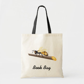 hornet wasp bee on a stick tote bag