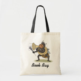 Hornet wasp bee playing music tote bag