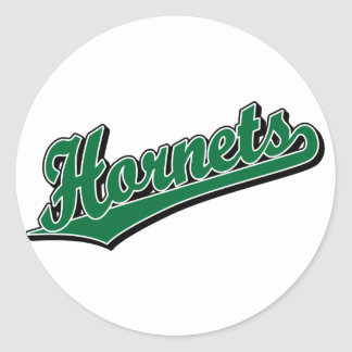 Hornets in Green Classic Round Sticker