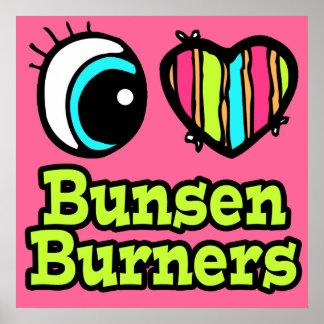 Hornillas de Bunsen brillantes del amor del corazó Posters