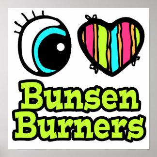 Hornillas de Bunsen brillantes del amor del corazó Impresiones