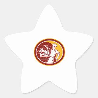 Horno de la cáscara de la tenencia del panadero calcomanía forma de estrellae