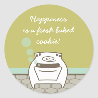 horno sonriente de la burbuja que cocina la pegatina redonda