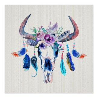 Horns And Flowers On Bull Skull