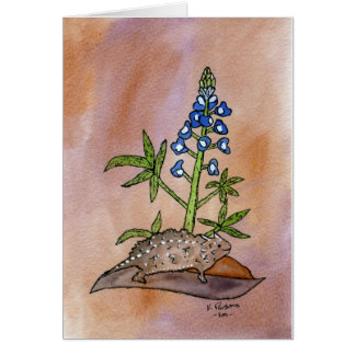 Horny Toad with Bluebonnet Greeting Card