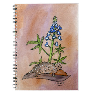 Horny Toad with Bluebonnet Spiral Notebook