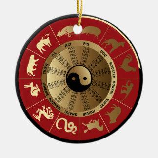 horoscope chinese zodiac Double-Sided ceramic round christmas ornament