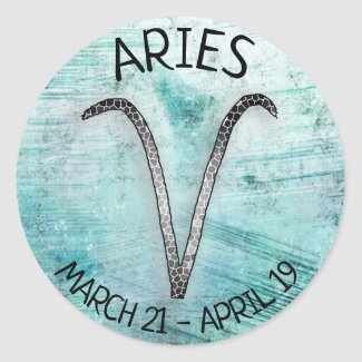 Horoscope sign Aries Classic Round Sticker