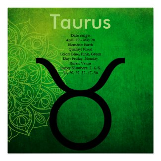 Horoscope Zodiac Astrology Sign Taurus Poster