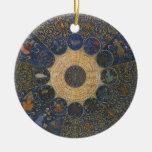 Horóscopo de las reglas del vintage, zodiaco adorno navideño redondo de cerámica