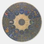 Horóscopo de las reglas del vintage, zodiaco pegatina redonda