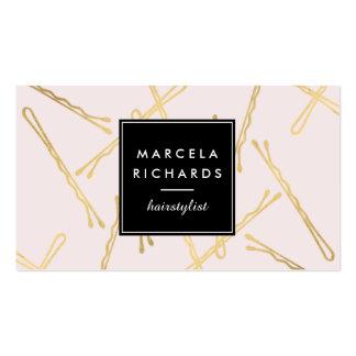 Horquillas Elegantes del oro Hairstylist, rosa del Tarjetas De Visita