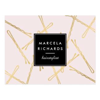 Horquillas Elegantes del oro Hairstylist, rosa del Tarjetas Postales