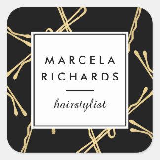 Horquillas Elegantes del oro Hairstylist, salón de Pegatina Cuadrada