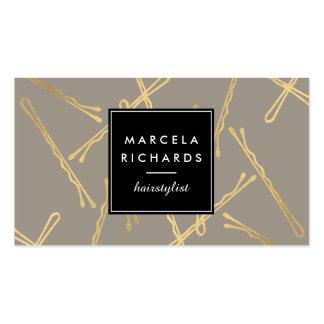 Horquillas Elegantes del oro Hairstylist, salón de Tarjetas De Visita