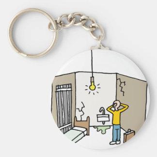 Horrible hotel room basic round button keychain