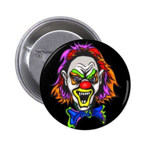 Horrid Evil Clown Pinback Buttons