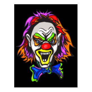 Horrid Evil Clown Postcard
