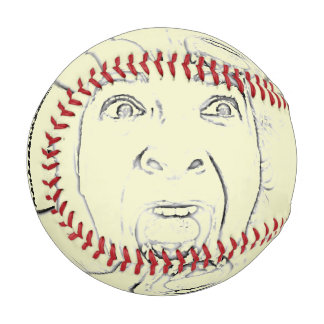 Horrified Screaming Face All Over Design Hilarious Baseball