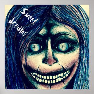 Horror art poster - creepy grinning clown woman