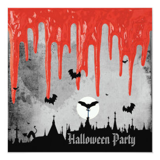 Horror Blood & Bats Halloween Party 5.25x5.25 Square Paper Invitation Card
