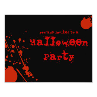 "Horror Blood Splatters Black Halloween Invitation 4.25"" X 5.5"" Invitation Card"