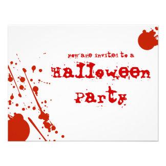 Horror Blood Splatters White Halloween Invitation