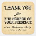 Horror de su presencia. Favor de fiesta de Hallowe Colcomanias Cuadradas Personalizadas