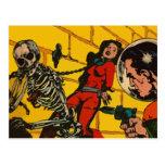 Horror del espacio - arte cómico de la ciencia fic tarjeta postal